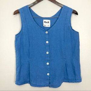 Flax Lagenlook Linen Tank Top Button Front Boxy